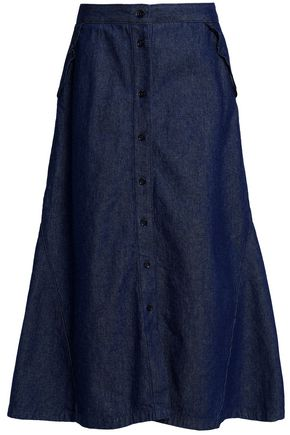 MAJE Denim midi skirt