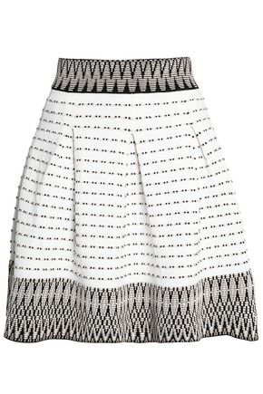 MAJE Pleated jacquard mini skirt