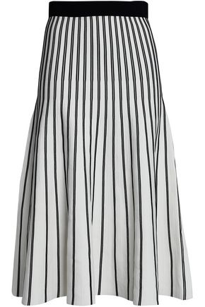 MAJE Pleated striped ponte midi skirt