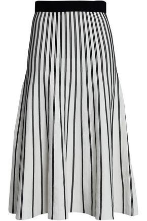 MAJE Pleated striped ponte midi skirt