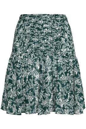 MAJE Shirred floral-print chiffon mini skirt