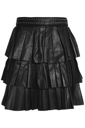 CLAUDIE PIERLOT Tiered leather mini skirt