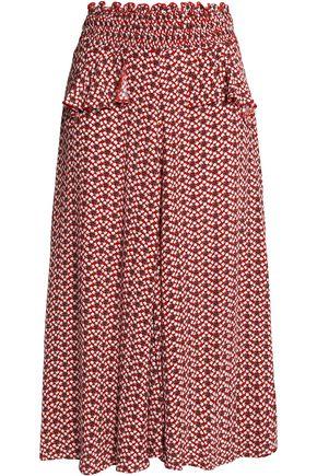 MAJE Ruffled floral-print crepe midi skirt