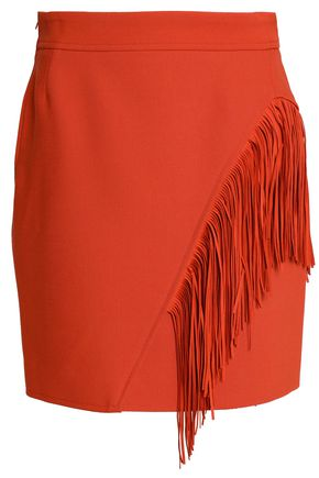MAJE Asymmetric fringed woven mini skirt