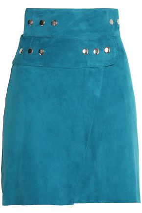 MAJE Studded suede wrap mini skirt