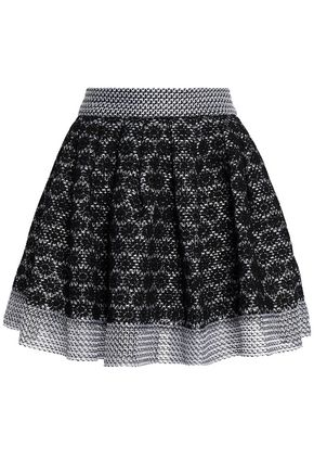 MAJE Jania flared embroidered mesh mini skirt