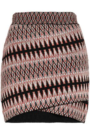 MAJE Jenia wrap-effect jacquard-knit mini skirt