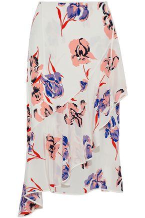 DIANE VON FURSTENBERG Ruffled floral-print silk wrap midi skirt