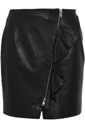 IRO Ruffled leather mini skirt