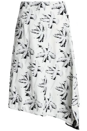 MARNI AAsymmetric crepe-jacquard midi skirt