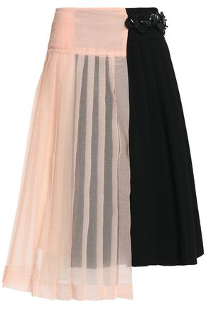 MARNI Asymmetric seersucker-paneled pleated crepe wrap skirt