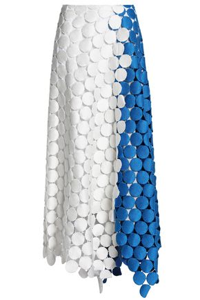 MARNI Two-tone cotton-blend macramé maxi skirt