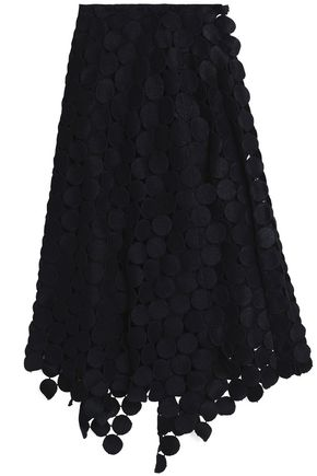 MARNI Asymmetric cotton-blend guipure lace midi skirt