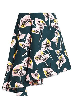 MARNI Asymmetric printed cotton and linen-blend mini skirt