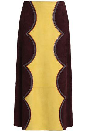 MARNI Two-tone suede midi skirt