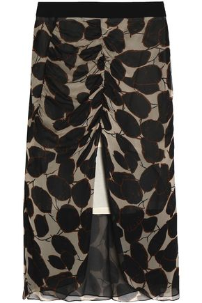 MARNI Ruched printed silk and wool-blend georgette midi skirt