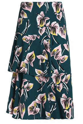 MARNI Layered printed crepe midi skirt