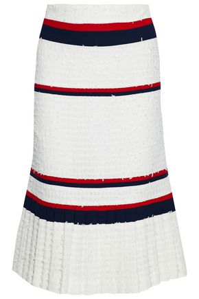 THOM BROWNE Striped crepe-paneled frayed pleated tweed skirt