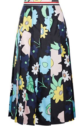 THOM BROWNE Pleated floral-print silk-twill midi skirt