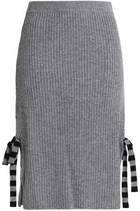CHINTI AND PARKER Bow-embellished ribbed wool and cashmere-blend skirt