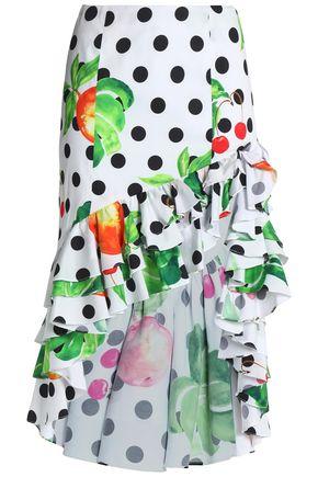 CAROLINE CONSTAS Asymmetric ruffle-trimmed printed cotton-blend poplin skirt