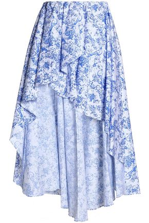 CAROLINE CONSTAS Ruffle-trimmed printed cotton-blend midi skirt