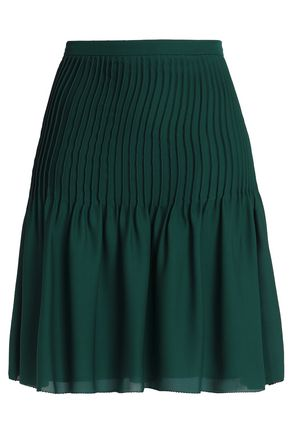 OSCAR DE LA RENTA Pintucked silk crepe de chine skirt