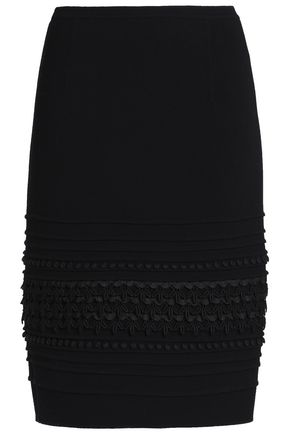 OSCAR DE LA RENTA Lace-trimmed stretch-wool crepe skirt
