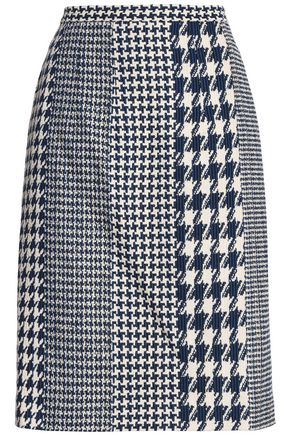 OSCAR DE LA RENTA Paneled houndstooth jacquard pencil skirt