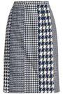 OSCAR DE LA RENTA Paneled houndstooth jacquard pencil skirt