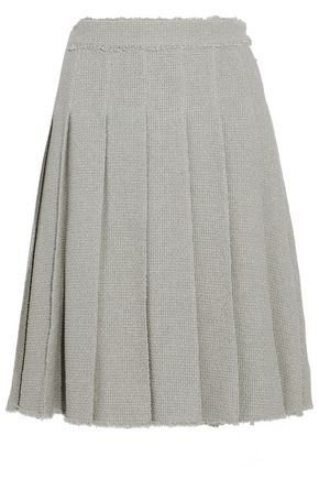 THOM BROWNE Frayed pleated cotton-tweed skirt