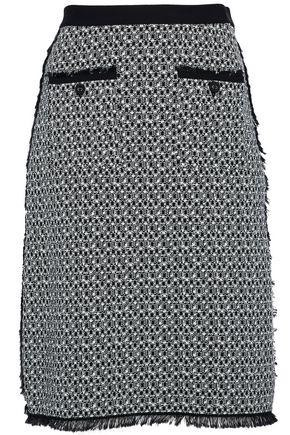 THOM BROWNE Frayed cotton-tweed skirt