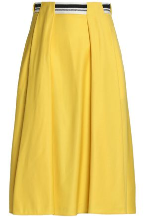 VIONNET Grosgrain-trimmed pleated wool-blend skirt