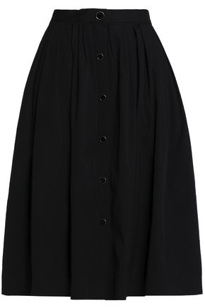 VIONNET Pleated cotton-poplin skirt