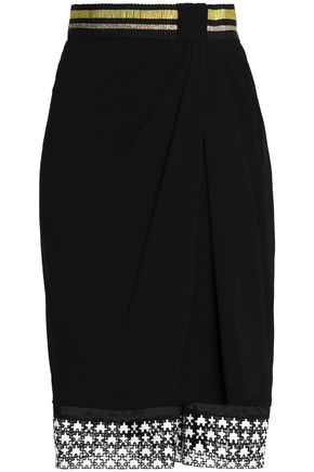 VIONNET Lace-paneled metallic-trimmed gathered crepe skirt