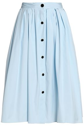 VIONNET Button-detailed pleated cotton-blend poplin skirt