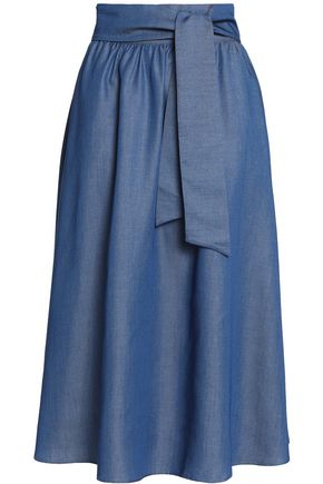 IRIS & INK Belted chambray skirt