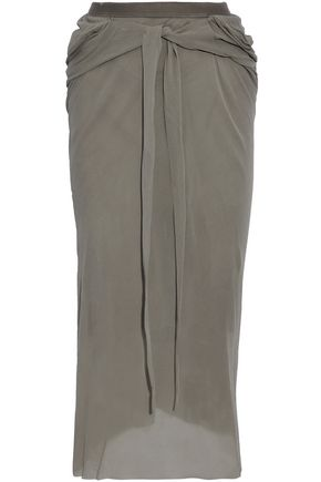 RICK OWENS Gathered silk-crepe midi skirt