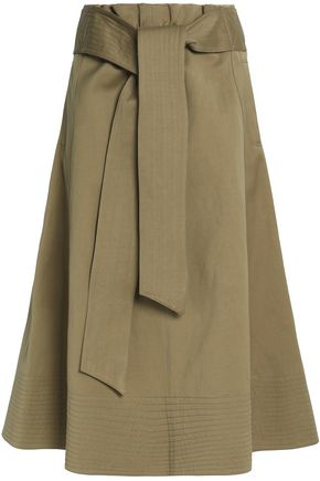 JOSEPH Belted cotton and linen-blend skirt