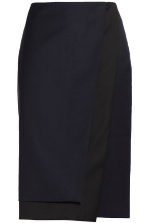 DION LEE Wool-twill wrap skirt