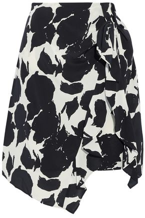 DEREK LAM 10 CROSBY Asymmetric ruffled printed silk skirt