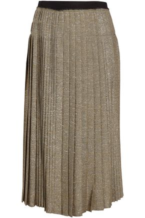 DEREK LAM 10 CROSBY Pleated metallic twill midi skirt