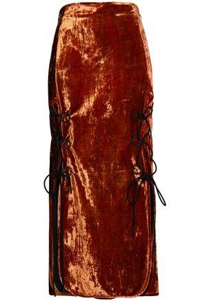 ELLERY Bow-embellished crushed-velvet midi skirt