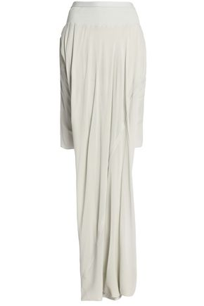 RICK OWENS Asymmetric draped ribbed knit-paneled silk-georgette skirt