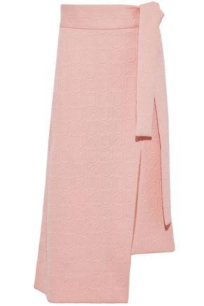 MARNI Asymmetric tie-front matelassé midi skirt