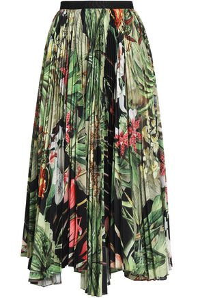 ADAM LIPPES Pleated floral-print woven midi skirt
