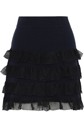 DEREK LAM 10 CROSBY Tiered gauze-trimmed wool-blend mini skirt