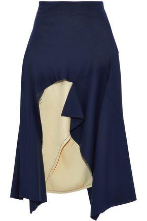 MARNI Layered frayed wool-blend and satin midi skirt