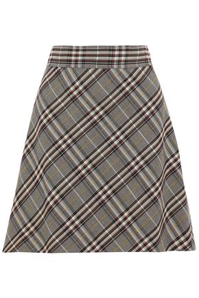 THEORY Checked wool mini skirt