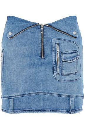 RTA Zip-detailed faded denim mini skirt
